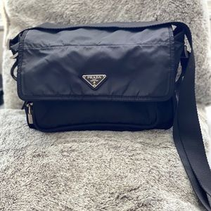Prada Nylon W/ Lock & Key Shoulder Messenger Bag